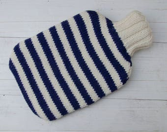 Knitted Hot water bottle Cover Navy Blue and Cream Stripes wool and alpaca