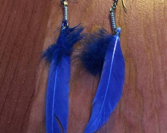 Vintage 1980's - Royal Bue Dangling Feather Earrings