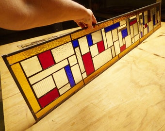 Custom Sidelight Stained Glass Panel - Red and Blue Abstract Sidelights