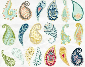 Paisley Clipart, Colorful Bohemian Clip Art, Hand Drawn Paisley, Decorative Graphic Design Element, Commercial Use, Printable, Card Making