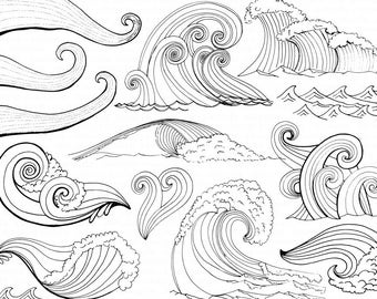 Wave Line Art + Silhouettes, Water Clip Art, Coastal ClipArt, Ocean Images, Nautical Sea Life, Swimming, Beach Illustrations