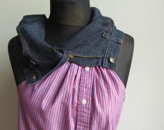 Refashioned Striped Tunic Blouse, Upcycled Clothing for Women, Recycled Denim Tank Top Shirt, Asymmetrical Cowl Neck Tunic, Urban Hipster