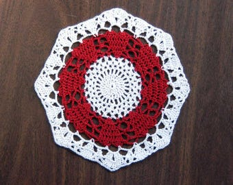 Red Hearts Crochet Lace Doily, Valentines Day Decor, Love Hearts Table Accessory, Octagon Shape, Wedding Decor, Romantic Gift for Her