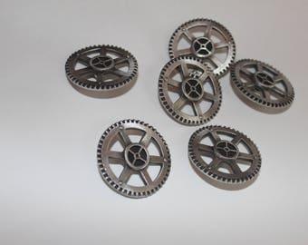 Metal gear buttons set of 6 steampunk