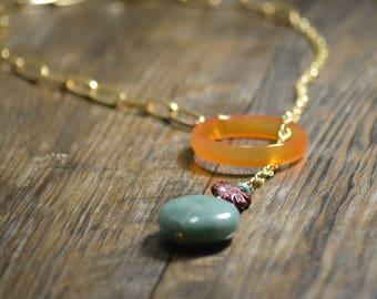 Gold Lariat Chain Necklace, Red Aventurine Ring, Turquoise, Brecciated Jasper Sunflower, Green Aventurine, Wire Wrapped, Women