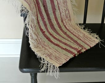 Hand-Woven Cotton/ Cotton-Poly Blend Rag Rug-Union #36 Loom-Maroon Stripes