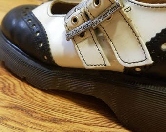 Vintage DR MARTENS Double Buckle Black and White Mary Jane's