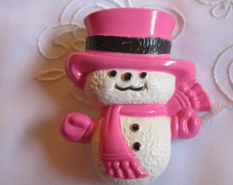 Vintage Avon Snowman with Pink Hat, Scarf and Gloves Pin From 1974