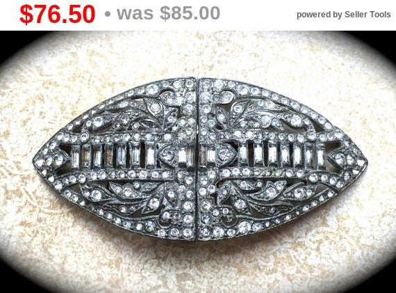 Summer Sale Large Duette Vintage Brooch Clip- Pave Rhinestone Brooch-Vintage Designer Jewelry- Estate Brooch- Clear Rhinestone Brooch Pin...
