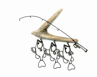 Bass Stringer and Fishing Rod Wire Sculpture, Bass Wire Art, Minimal Wire Sculpture, 571417811