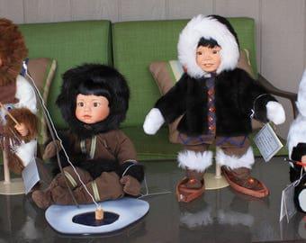 Antique Patricia Wall Dolls Miska, Nikki, Nugaluk and Tulimak