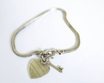 Antique Sterling Silver Heart And Key Charm Bracelet c.1930s