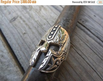 ON SALE Medieval Warriors helmet ring handmade in sterling silver