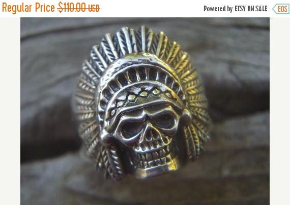ON SALE Indian skull ring in sterling silver