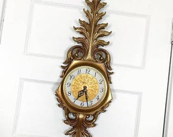 Vintage Syroco Wall Clock Gold Plastic 1960s