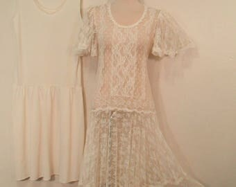 Vintage SHEER LACE DRESS Angel Bell Sleeve 1970's White Lace Dress 1920's 30s Style Downton Abbey Boho Lace Fairy Tale Party Dress Size S