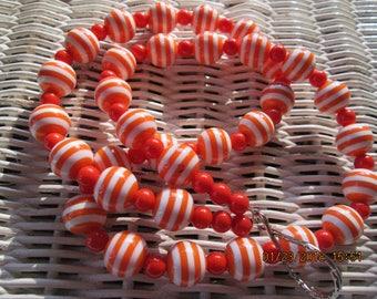 721  Orange and white handmade beaded lanyard-Womens orange and white-Mens orange and white
