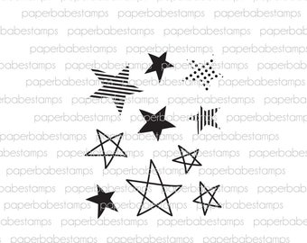 Doodle Stars - Paperbabe Stamps - Photopolymer Stamp - for Mixed Media and paper crafting