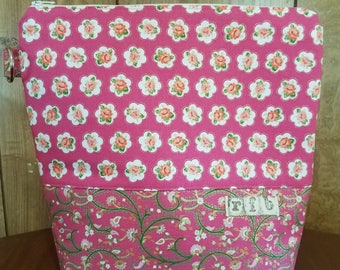 Knitting project bag roses