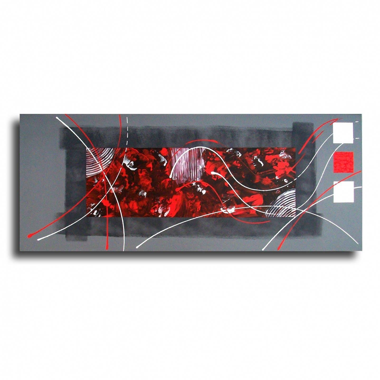tableau toile rouge gris noir design contemporain moderne. Black Bedroom Furniture Sets. Home Design Ideas