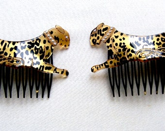 Matched pair figural leopard hair combs 1980s hair accessories hair ornament decorative comb hair jewelry