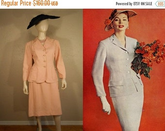Anniversary Sale 35% Off Into His Arms She Fell - Vintage 1950s Venus Shell Pink Rayon Suit - 8