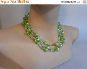 Anniversary Sale 35% Off I Just Want a Touch of Summer - Vintage 1950s Light Green Moonglow Lucite 3 Strand Necklace