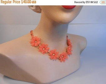 Anniversary Sale 35% Off Snowbirds Head to Florida - Vintage 1950s Tangerine Orange Soft Plastic Floral Necklace