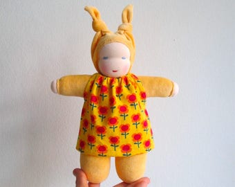 Organic Steiner doll, Waldorf doll yellow, fair skinned, bunting, doll with dress, child companion, cuddly, gift for girl, Steiner dukke