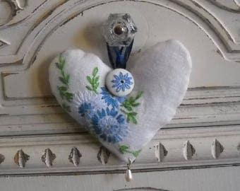 Pretty Blue Lavender Heart Sachet Vintage Shabby Cottage Chic