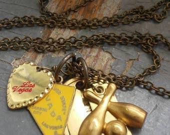 What Happens in Vegas - retro enamel bowling league charm, vintage Las Vegas metalwork, stamped tag,  chain necklace