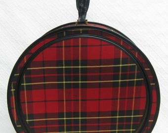 Vintage Red Plaid Zippered Round Suitcase, 1960s
