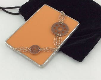 Pumpkin Orange and Copper Gear Stained Glass and Hand Knit Wire Hand Mirror with case