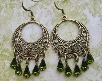 Chandelier Earrings - Bohemian Earrings - Olivine Earrings - Olive Green Earrings - Fall Jewelry - Olivine Jewelry - Romantic Jewelry