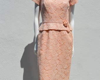 Vintage 50's all lace formal cocktail party dress MINT vegan formal marilyn rockabilly size M by thekaliman