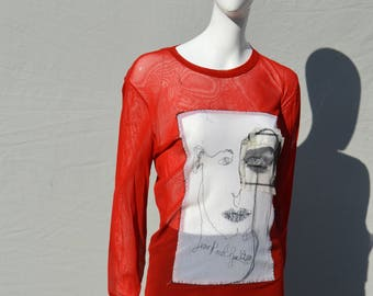 Vintage JPG Jean Paul Gaultier MAILLE mesh shirt face collage with Eye and Mouth Appliques patchwork XL by thekaliman