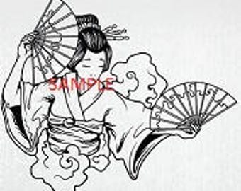 Oriental Girl with Fans Cross Stitch Chart