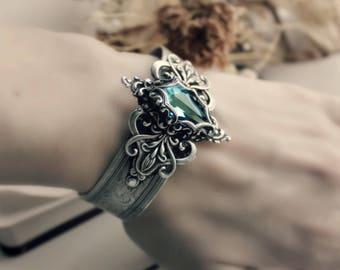 Aged Silver Swarovski Cuff - Bracelet - Blue - Mermaid - Fantasy Winter Wedding - Bridal - Fashion - February - Valentines Day - Mardi Gras