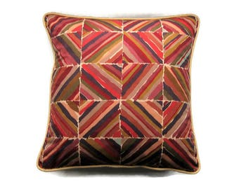 Liberty Collier Campbell Kasak mid 70s, geometric squares, red, beige, green cotton cushion cover, throw pillow cover, homeware decor.