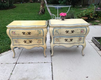 """FRENCH PROVINCIAL NIGHTSTANDS / Pair of Shabby Chic Solid Wood Nightstands 26"""" x 16.5"""" x 24"""" Tall / Bombe Shabby Chic Style Retro Daisy Girl"""