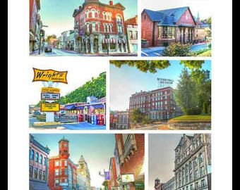 Staunton VA Collage - Beverley St  - Umbrella Marquis - Blackfriars  -Wrights -Stonewall Jackson Hotel - Masonic - Clock Tower-by Dave Lynch