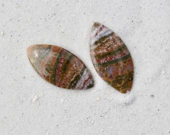 ocean jasper cabochons for jewelry making, set for earrings, designer natural stones
