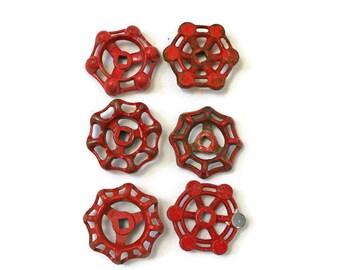 6 Vintage Valves in Red  /  Water Faucet knob  /  Water Spigot Handle  /  Furniture Hardware  /  Repurpose Supplies