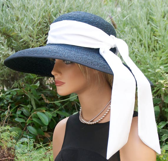 Women's navy blue hat Wedding Hat Church hat Breakfast at Tiffany's Hat Ladies formal hat derby hat, race hat, Ascot hat, occasion event hat