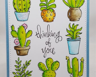 Watercolored Cactus Blank NoteCard, Greetings Card, Handmade Card