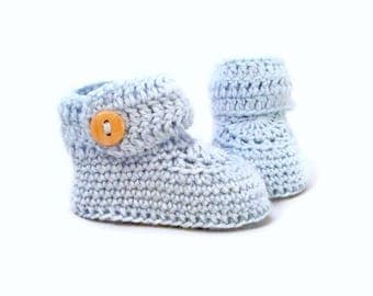 Short Button Cuff Baby Booties in Blue Merino Wool
