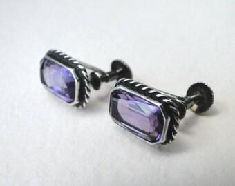 Vintage Amethyst Earrings / Sterling Silver Screw Back Earrings / Emerald Cut Amethyst Earrings / Sterling Silver Rope Border Earring