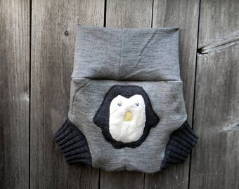 Upcycled Merino Wool Soaker Cover Diaper Cover With Added Doubler Gray With Penguin Applique MEDIUM 6-12M Kidsgogreen