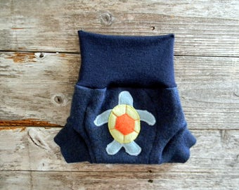 Upcycled  Merino Wool Soaker Cover Diaper Cover With Added Doubler Blue With Sea Turtle Applique SMALL 3-6M
