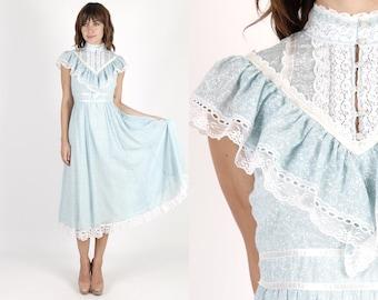 Gunne Sax Dress Prairie Dress Boho Hippie Dress Jessica McClintock Dress Lace Dress Summer Dress Vintage 70s Blue Sheer Floral Midi Maxi M